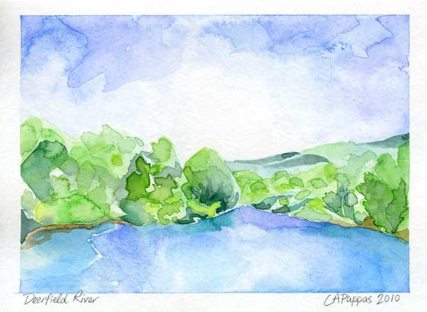 Deerfield River watercolor