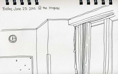 ink drawing hospital room