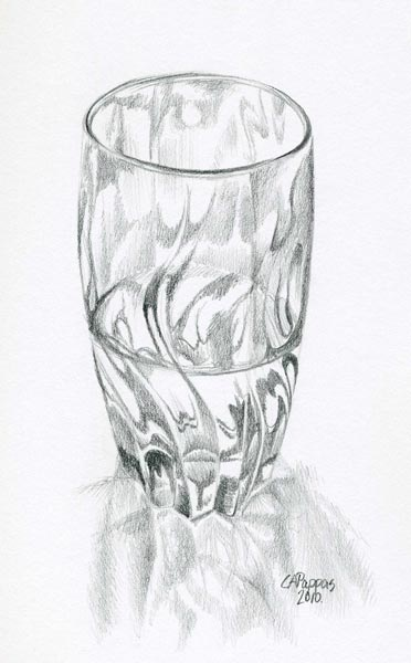 graphite drawing drinking glass