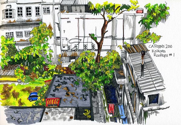 kolkata india rooftop drawing