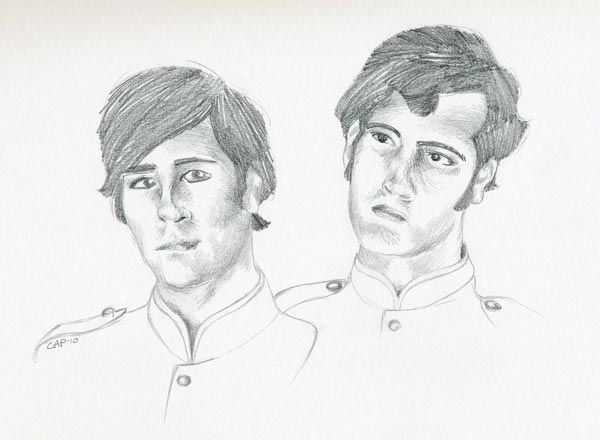 pencil drawing of brothers