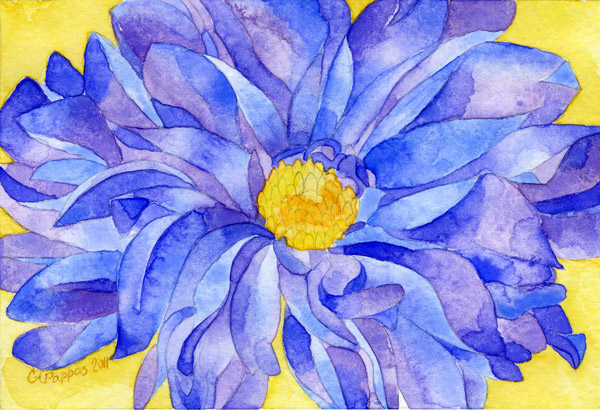 blue and purple watercolor flower