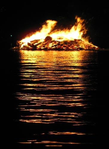 bonfire on lake