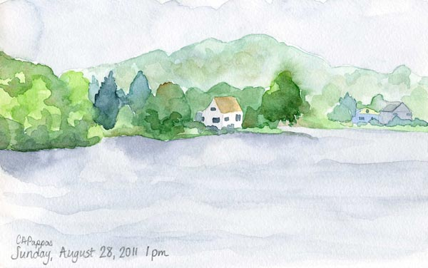 watercolor landscape lake