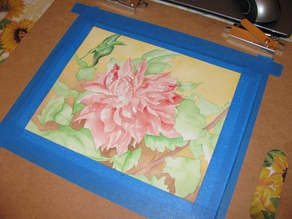 in progress floral painting