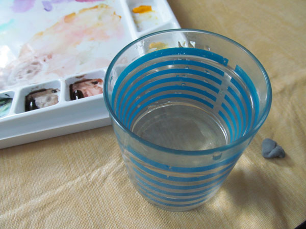 watercolor cup and palette