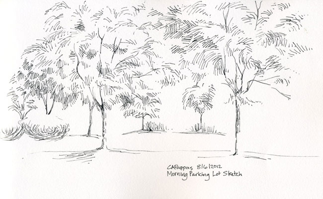 pen and ink trees