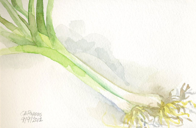 leek watercolor