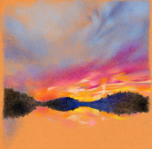 sunset drawing in progress