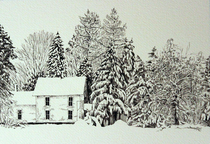pen and ink snow scene